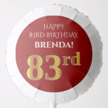 [ Thumbnail: Elegant, Red, Faux Gold Look 83rd Birthday Balloon ]