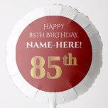 [ Thumbnail: Elegant, Red, Faux Gold Look 85th Birthday Balloon ]