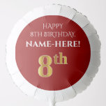 [ Thumbnail: Elegant, Red, Faux Gold Look 8th Birthday Balloon ]