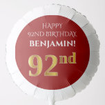 [ Thumbnail: Elegant, Red, Faux Gold Look 92nd Birthday Balloon ]