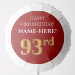 [ Thumbnail: Elegant, Red, Faux Gold Look 93rd Birthday Balloon ]