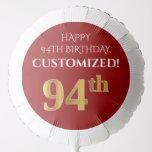 [ Thumbnail: Elegant, Red, Faux Gold Look 94th Birthday Balloon ]