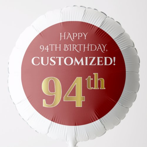Elegant Red Faux Gold Look 94th Birthday Balloon