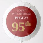 [ Thumbnail: Elegant, Red, Faux Gold Look 95th Birthday Balloon ]