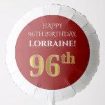 [ Thumbnail: Elegant, Red, Faux Gold Look 96th Birthday Balloon ]