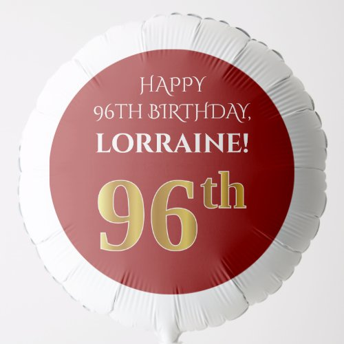 Elegant Red Faux Gold Look 96th Birthday Balloon