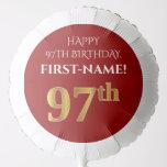 [ Thumbnail: Elegant, Red, Faux Gold Look 97th Birthday Balloon ]