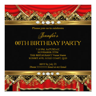 Elegant Red Faux Gold Silk Black Diamond Invite