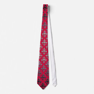 Elegant Red - Faux Silver Embossed Damask Tie