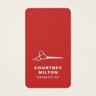 Elegant Red Faux Silver Scissor Hair Stylist Business Card