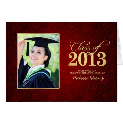 Elegant Red floral damask and Gold Class of 2013 Card
