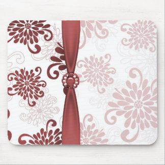 Elegant Red Floral Damask Ribbon Mousepad