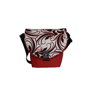 Elegant Red Floral in Art Deco Design Messenger Bag
