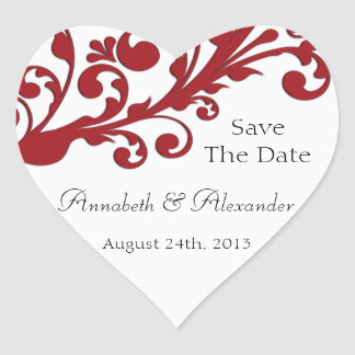 Elegant Red Floral Save The Date Heart Sticker