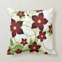 elegant red floral throw pillow
