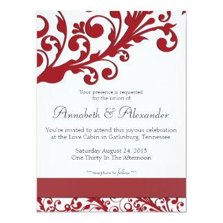 Elegant Red Floral Wedding Personalized Invitation