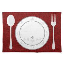elegant red flourish place setting placemats