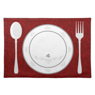 elegant red flourish place setting placemats