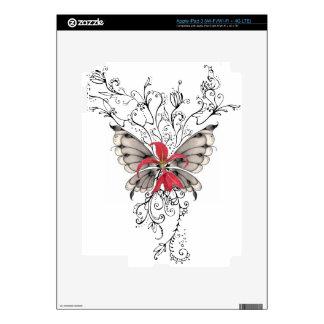 Elegant Red Flower Feur-de-Lis Angel Skins For iPad 3