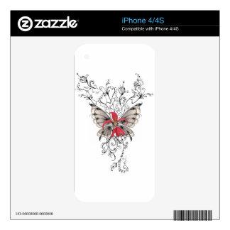 Elegant Red Flower Feur-de-Lis Angel Skins For The iPhone 4S