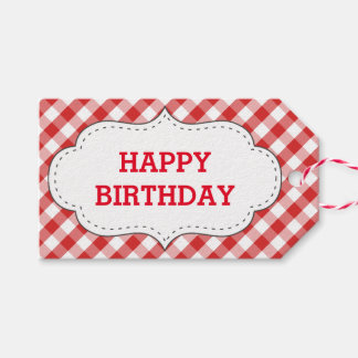 Elegant Red Gingham Pattern Personalized Birthday Gift Tags