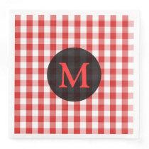 Elegant Red Gingham Pattern Personalized Monogram Paper Dinner Napkin
