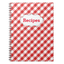 Elegant Red Gingham Pattern Recipes Notebook