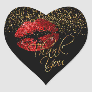 Elegant Red Glitter Lipcolor - Thank You Heart Sticker