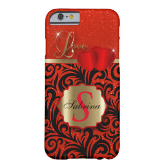 Elegant Red Glitter Love | Personalize Barely There iPhone 6 Case