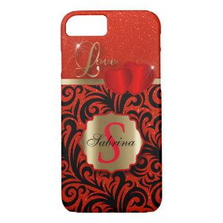 Elegant Red Glitter Love | Personalize iPhone 7 Case