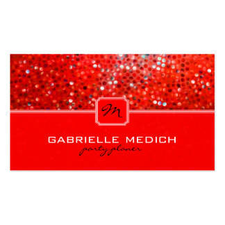 Elegant Red Glitter Party Planner Business Card Business Cards