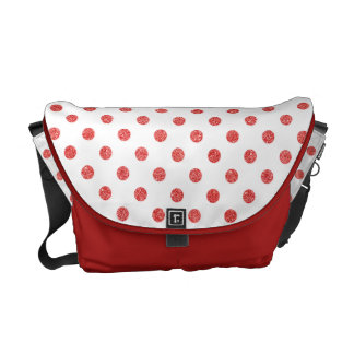 Elegant Red Glitter Polka Dots Pattern Courier Bag