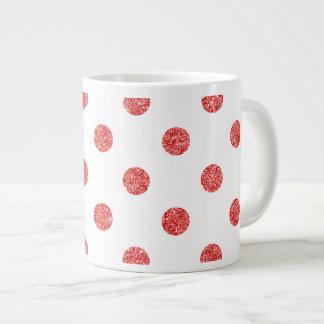 Elegant Red Glitter Polka Dots Pattern Giant Coffee Mug