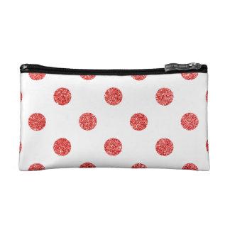 Elegant Red Glitter Polka Dots Pattern Makeup Bag