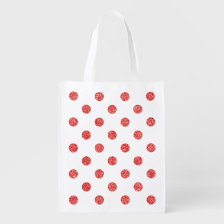 Elegant Red Glitter Polka Dots Pattern Reusable Grocery Bag