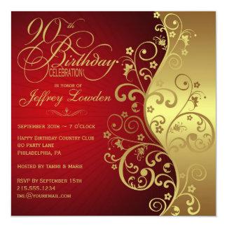 Elegant Red & Gold 90th Birthday Party Invitation