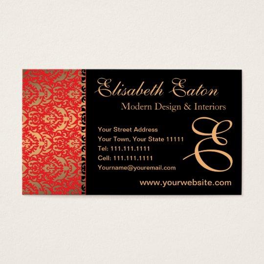 Elegant Red, Gold and Black Damask Fancy Design Business Card