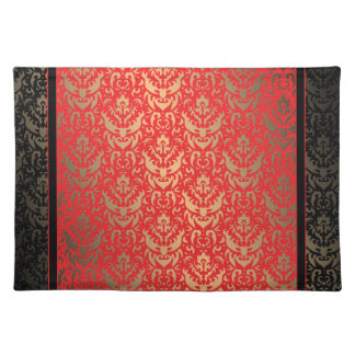 Elegant Red Gold and Black Faux Shimmer Damask Placemat