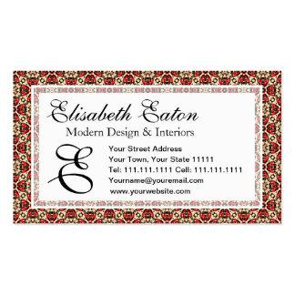 Elegant Red, Gold and Black Oriental Damask Business Card