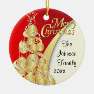 Elegant Red, Gold and White Christmas | Customize Ceramic Ornament