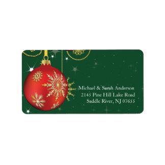Elegant Red Gold Christmas Ball Address Label