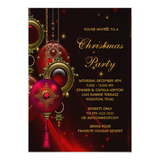 Elegant Red Gold Christmas Holiday Party Card at Zazzle