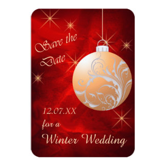 Elegant Red Gold Christmas Wedding Save the Date 3.5x5 Paper Invitation Card