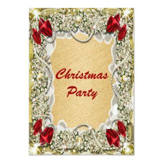"Elegant red gold Christmas wreath 5"" X 7"" Invitation Card"