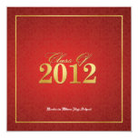 """Elegant Red & Gold Class of 2012 Announcements 5.25"""" Square Invitation Card"""
