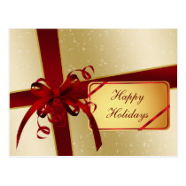 elegant red gold  Corporate Holiday Greeting s Postcard