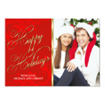Elegant Red Gold Damask Christmas Photo Card Announcement