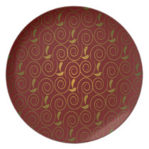 elegant red gold damask dinner plate