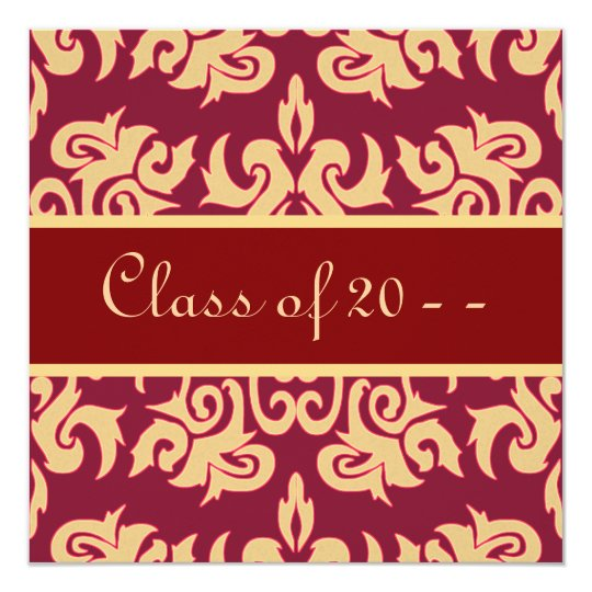 Elegant Red & Gold Damask Graduation Announcements