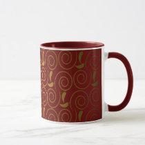Elegant red gold damask mug